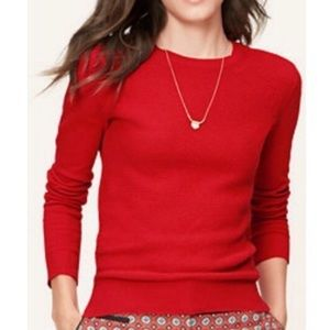 Ann Taylor Loft Red Textured Crew Sweater